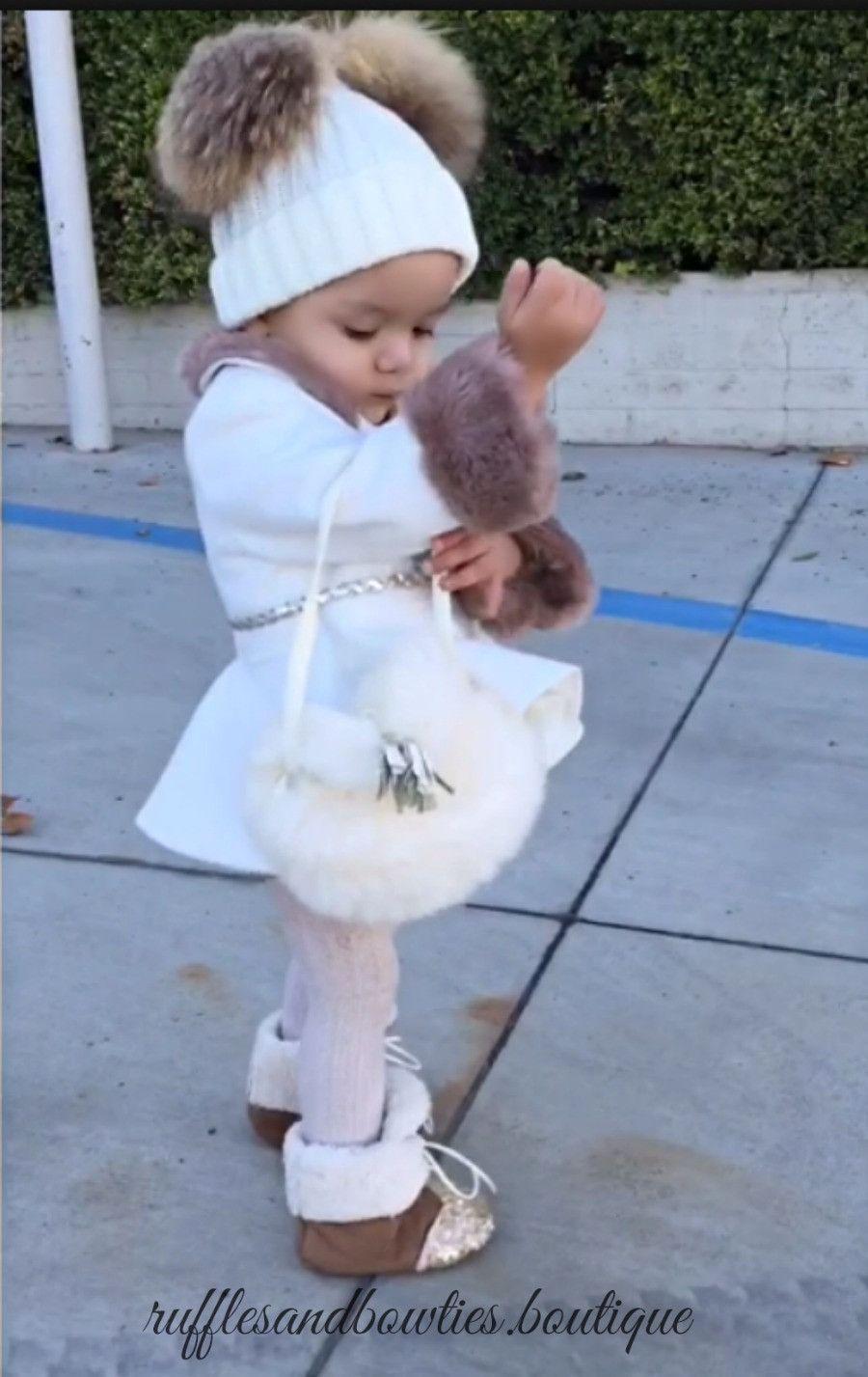 8ca7cc953226 Girls Toddler Cream Faux Fur Fringe Cross Over Purse - Coin Purse ...