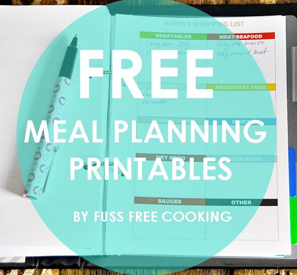 Free Printables On Meal Planning Grocery List A5 Sized Set On One