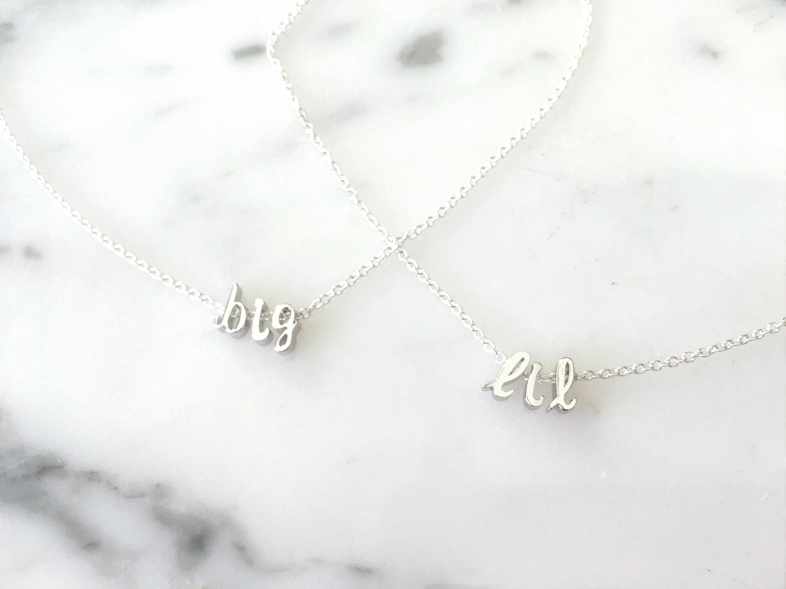 Sorority big and little silver gold or rose gold tiny initial