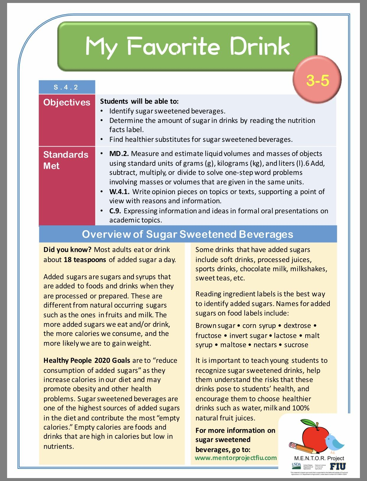 Sugar Sweetened Beverage Intake Science Lesson Plan For Grades 3 5 How Much Sugar Sugary Drinks Nutrition Facts Label [ 1628 x 1242 Pixel ]