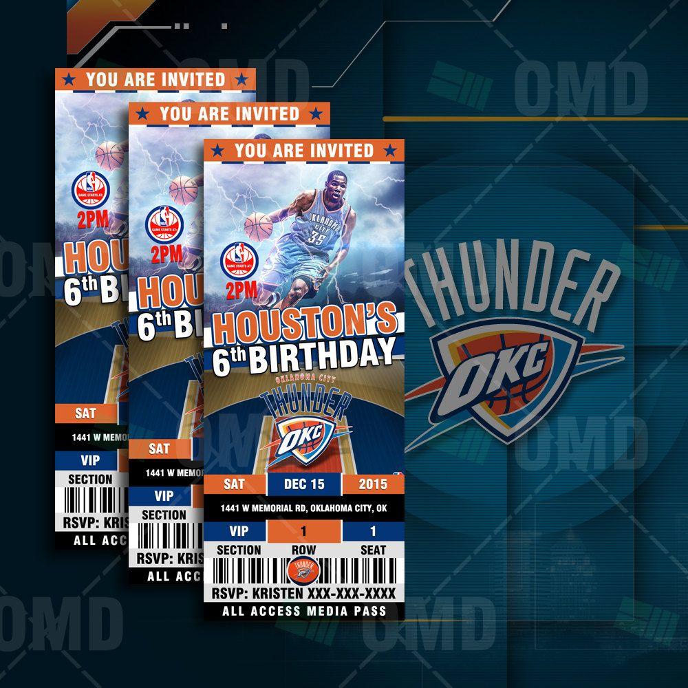 Google themes nba - Oklahoma City Thunder Sports Party Invitation Sports Tickets Invites Basketball Birthday Theme Party Template By Sportsinvites