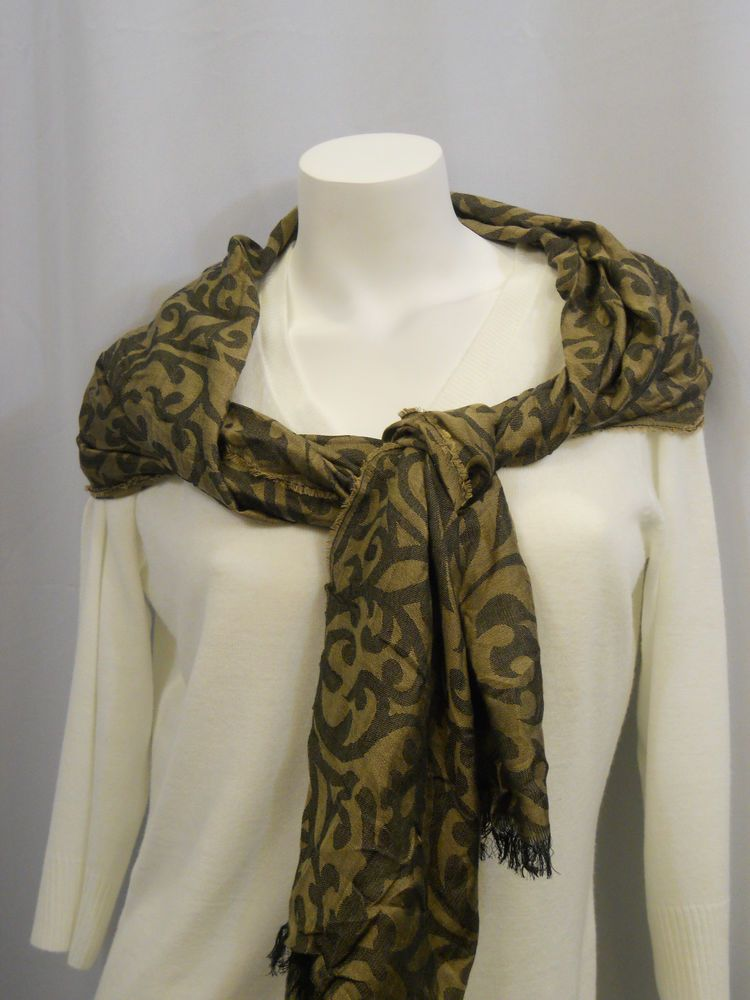Women Scarf Brown Straw Paisley Wrap Shawl Stole 70x22 Style Co 100 Modal Styleco Shawlwrap Alloccasio Paisley Wrap Stole Scarf Plus Size Long Sleeve Tops