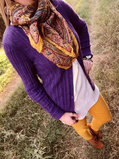 11d954bdbb Fall Outfit Idea - Purple and Yellow in 2019