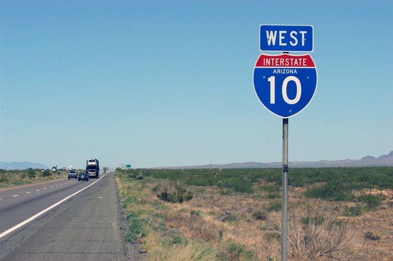 Arizona interstate 10 sign    The interstates in 2019