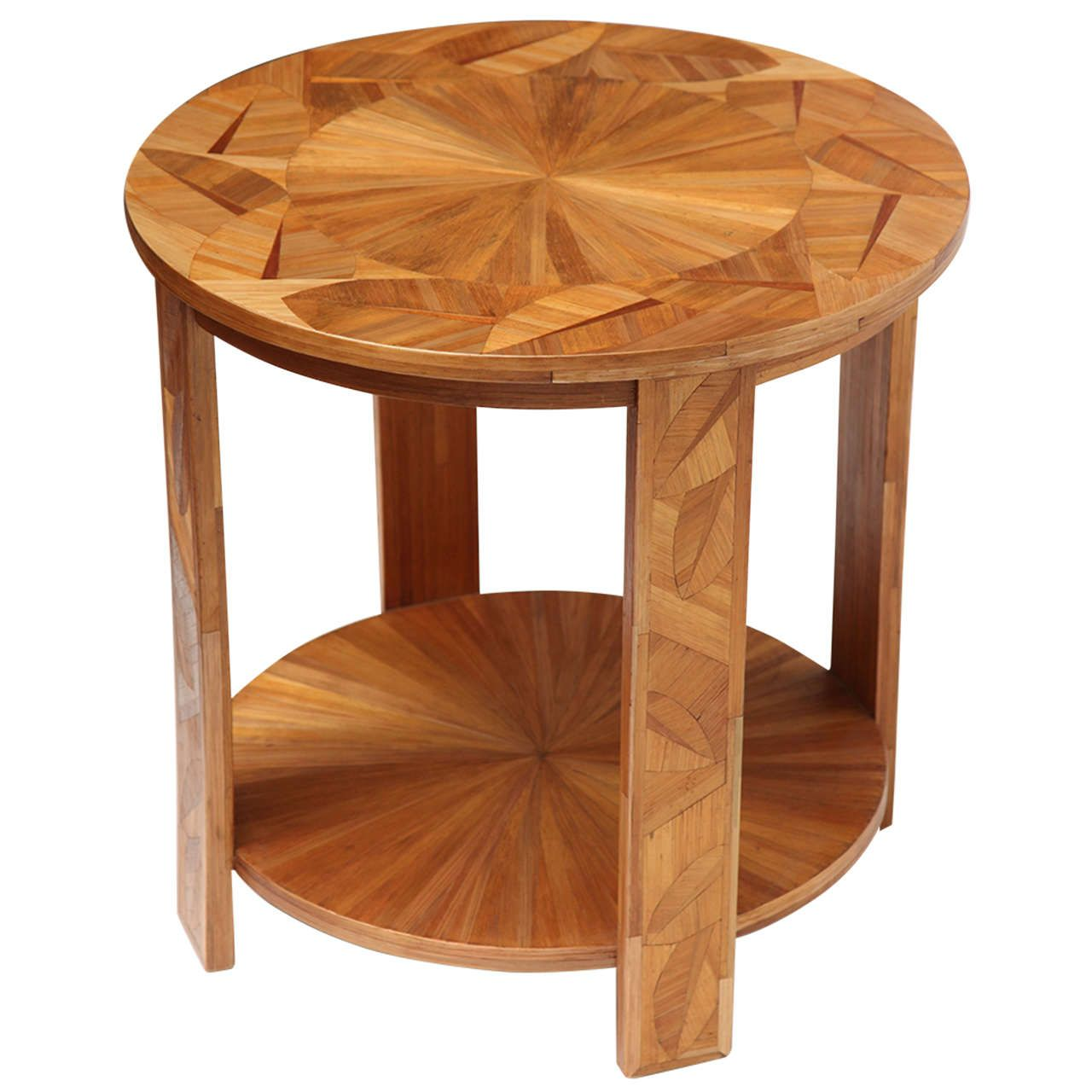 rare art deco two tiered straw marquetry side table by andré