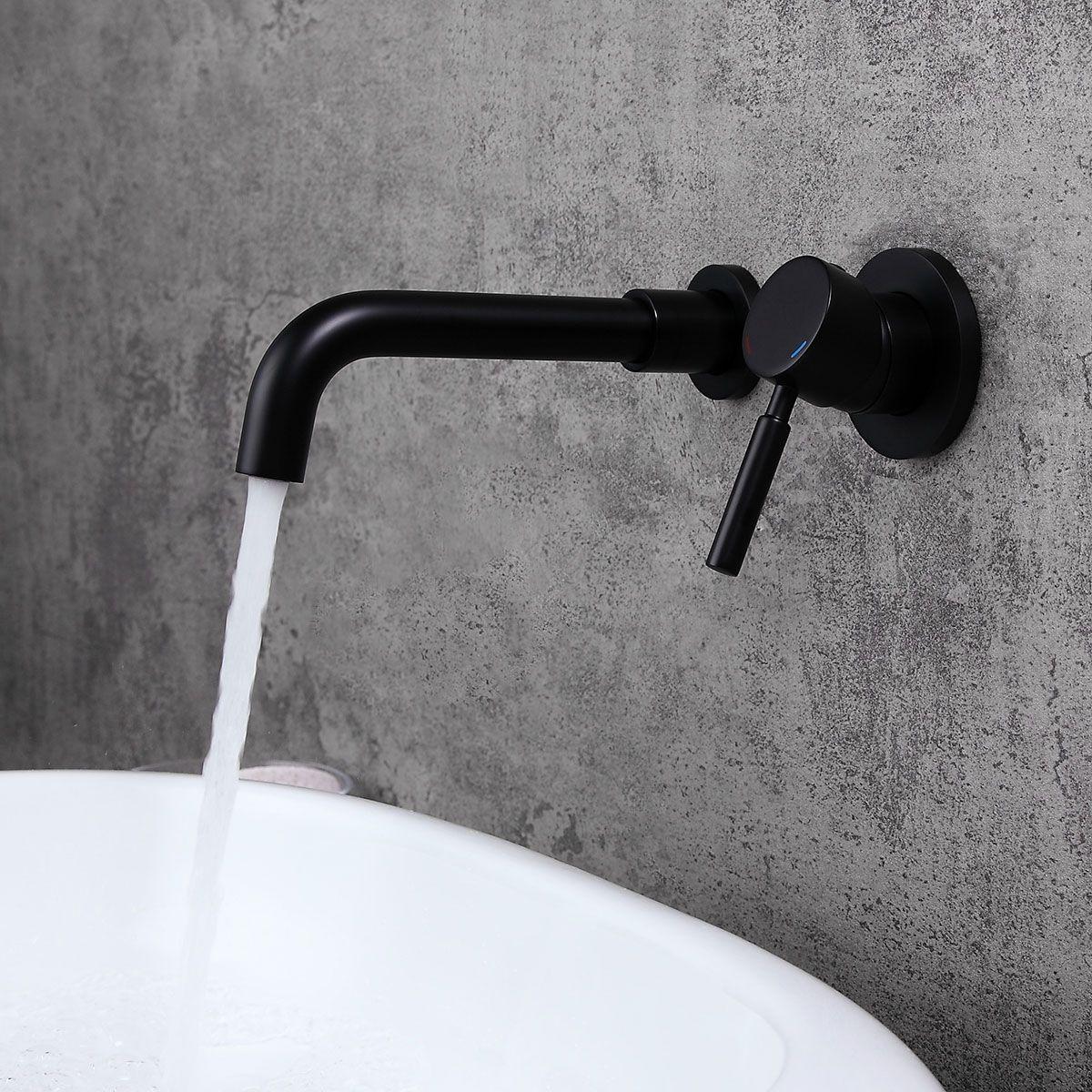 Stev Solid Brass Modern Wall Mount Bathroom Sink Faucet With Single Handle In Matte Black In 2020 Wall Mounted Bathroom Sinks Bathroom Sink Faucets Wall Mount Faucet Bathroom Sink