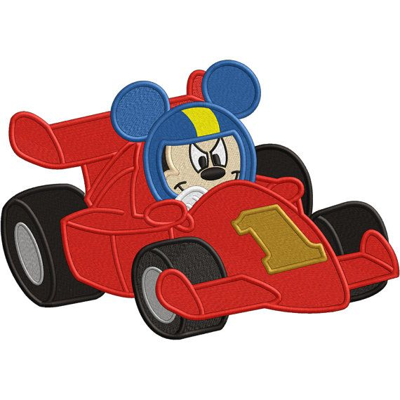 Mickey Mouse Roadster Racer Embroidery Design