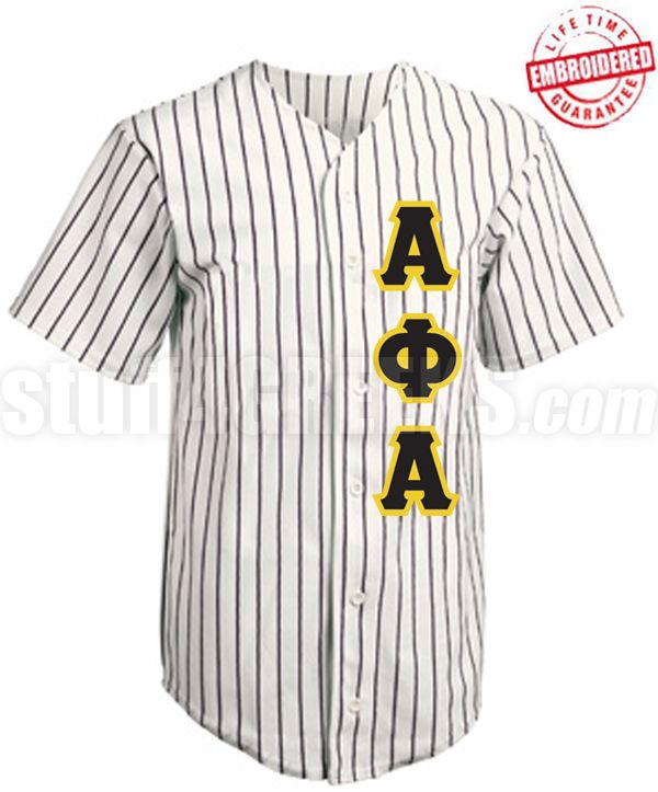 Alpha Phi Alpha Cloth Pinstripe Baseball Jersey With Greek Letters Tw Embroidered With Lifetime Guarantee Alpha Phi Alpha Alpha Phi Baseball Jerseys