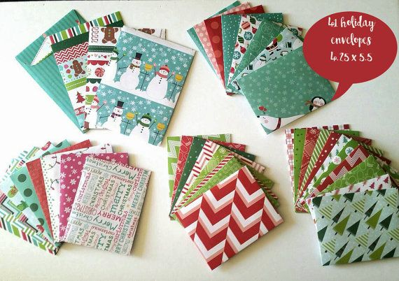 Set of 41 handmade envelopes in a Christmas by JustSmashingPaper