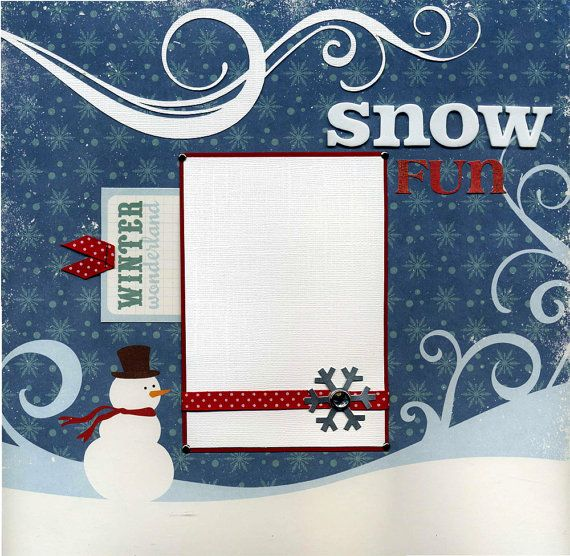 12x12 Premade Winter Scrapbook Layout Snowy Fun