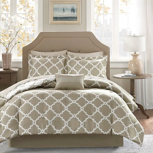 The Sandy Taupe And White Fretwork Complete 9 Piece King