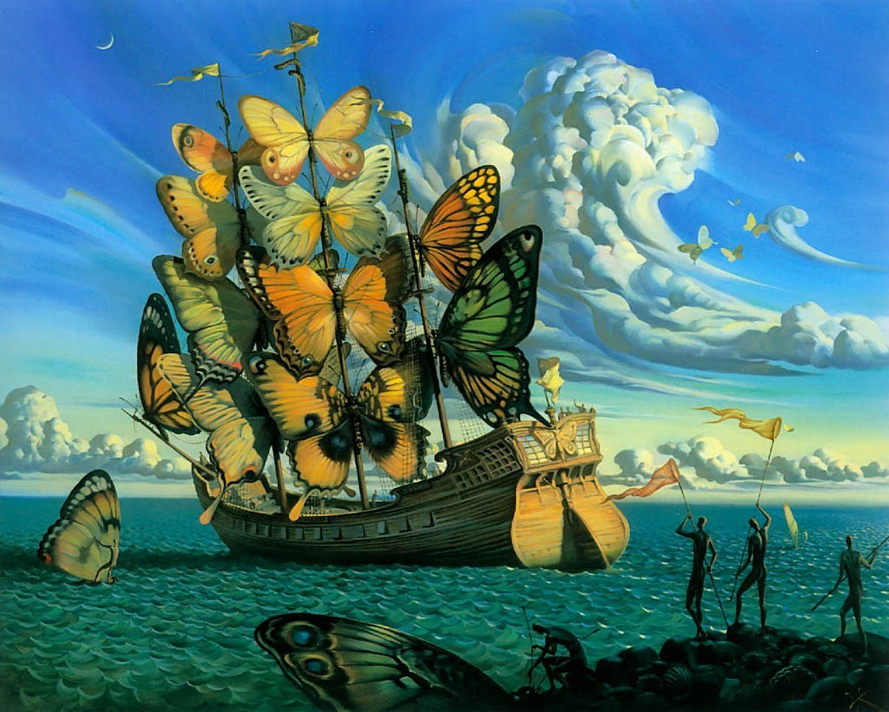 The Unforgettable Surreal Art of Vladimir Kush - Ship of the Winged Butterfly Sails