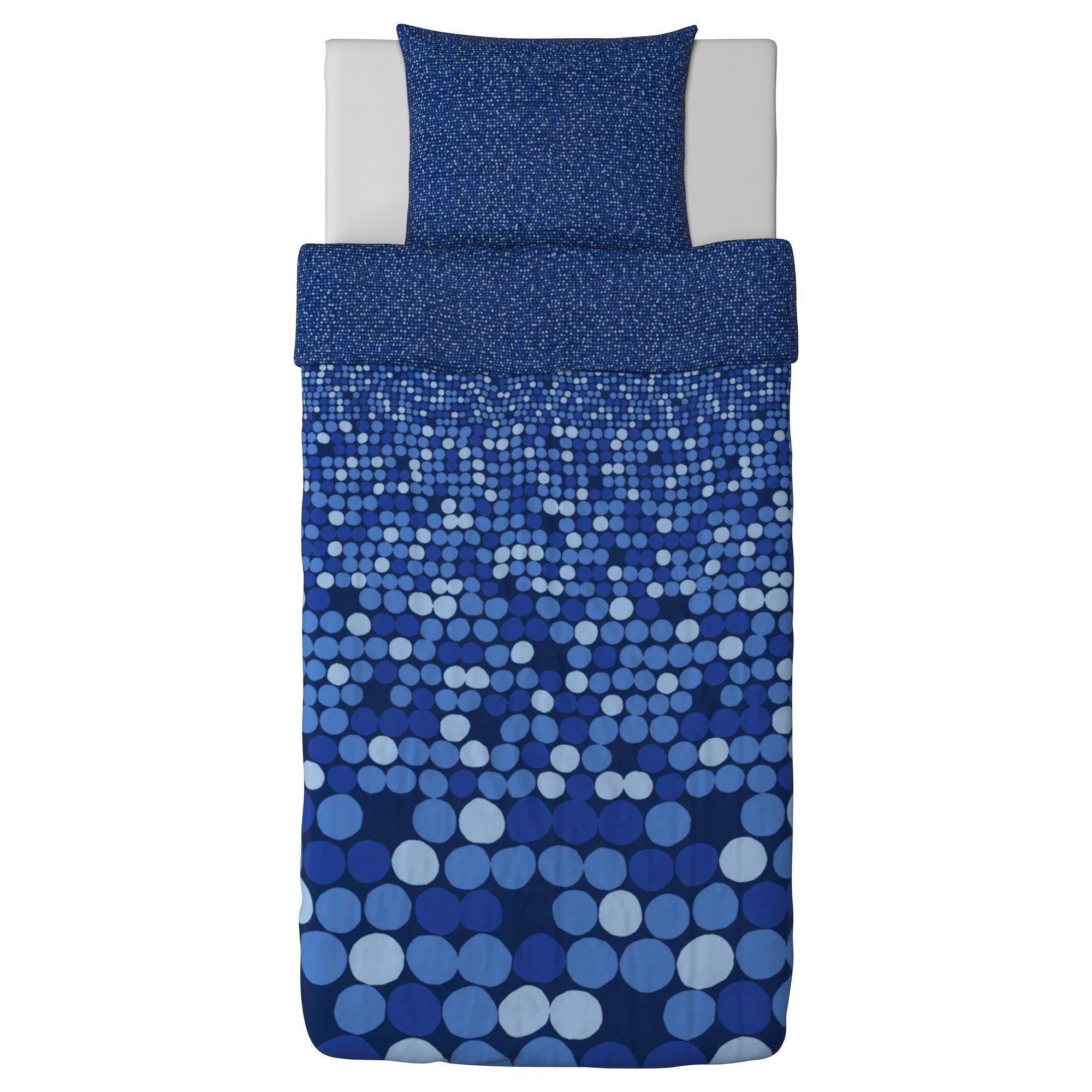 SMÖRBOLL Dynebetræk og 1 pudebetræk - blå, 140x200/60x70 cm - IKEA