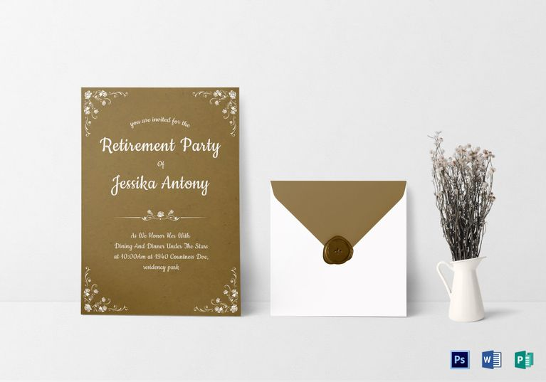 Teacher Retirement Party Invitation Template  Invitation Card