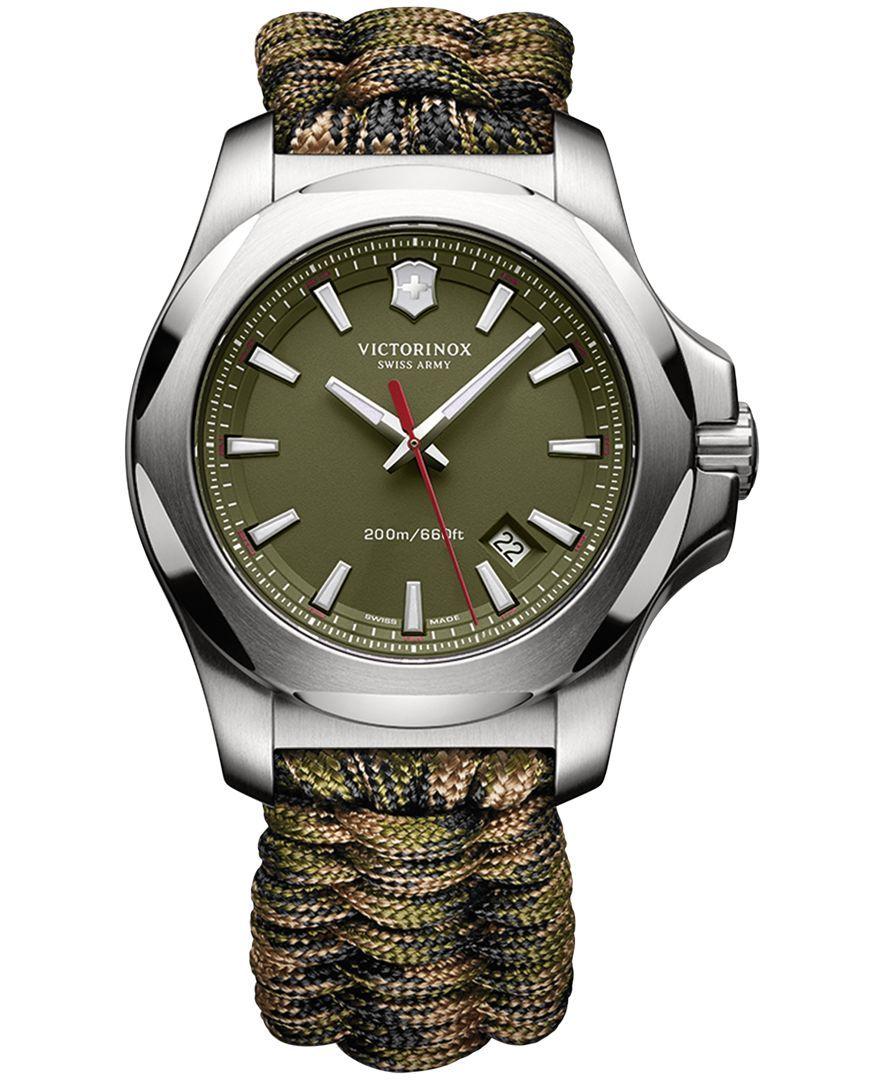 Victorinox Swiss Army Men s I.n.o.x. Green Paracord Strap Watch 43mm  241727.1 8c95726e596