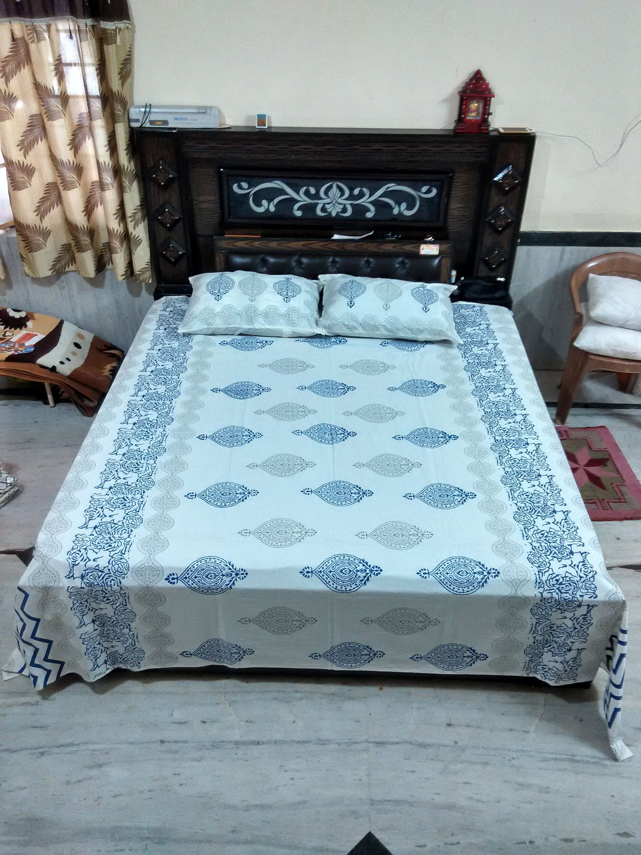 Pillow Cases Soft Cotton Bed Sheet Double Bed Sheet King Size Cotton Flat Bed Sheet Bedroom Decor Hand Block Printed