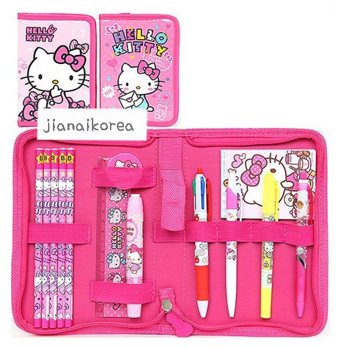 Hello Kitty Cute Stationery Set Pencil Eraser Note Ruler Pen Pink Child Girls Cute Stationery Hello Kitty Party Supplies Stationery Set