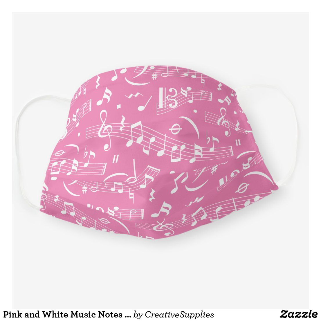 Pink and White Music Notes Pattern Cloth Face Mask