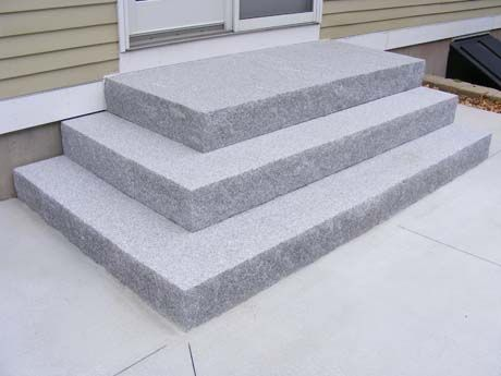 Split Face Woodbury Gray Tiered Step Set Back Steps