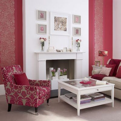 Red Wallpaper Theme Design Idea Floral Fireplace Retro Modern Living Room Decor Fun Stylish Focal Wall White Beige Pink Color Combination 4