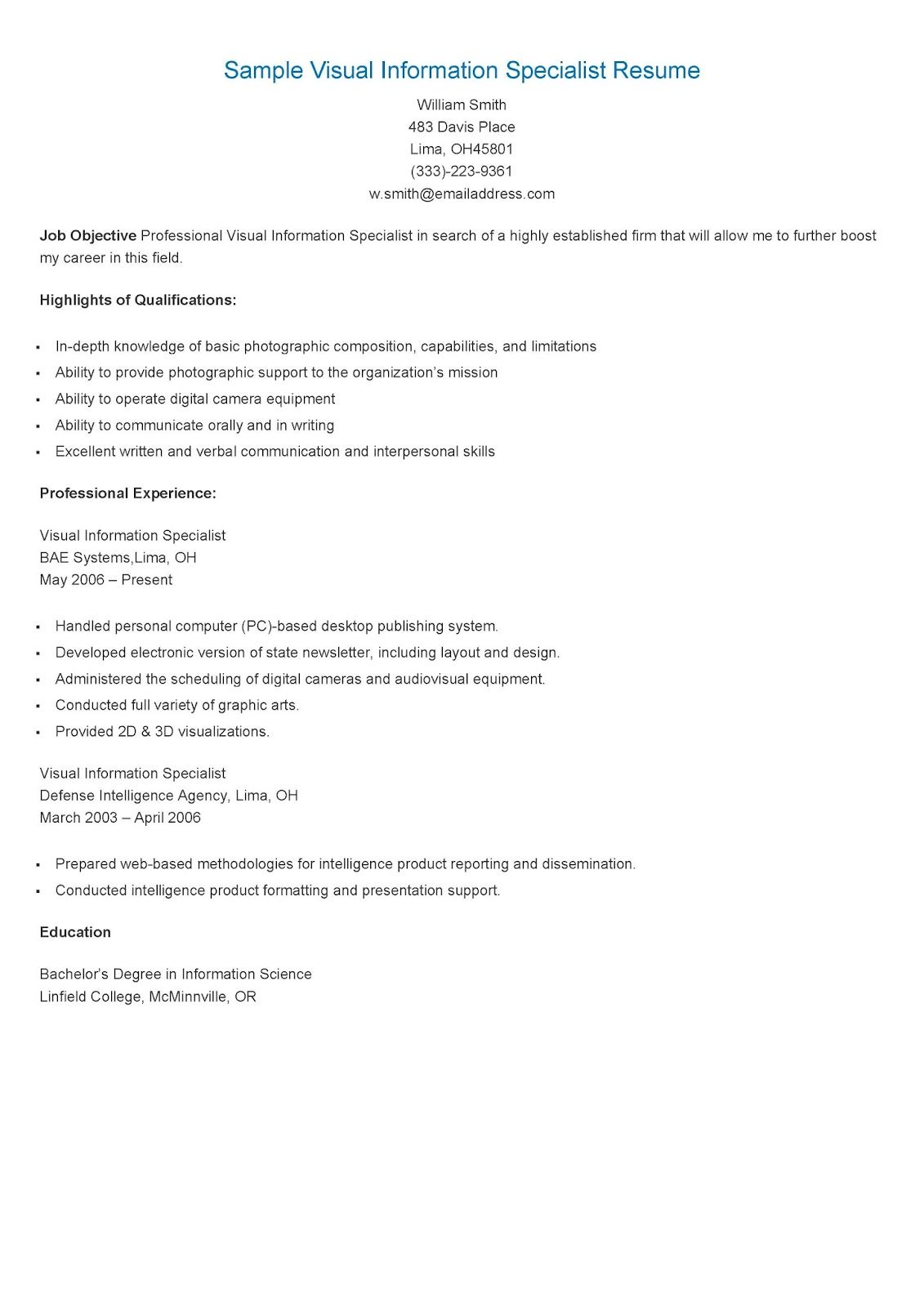 Sample Visual Information Specialist Resume