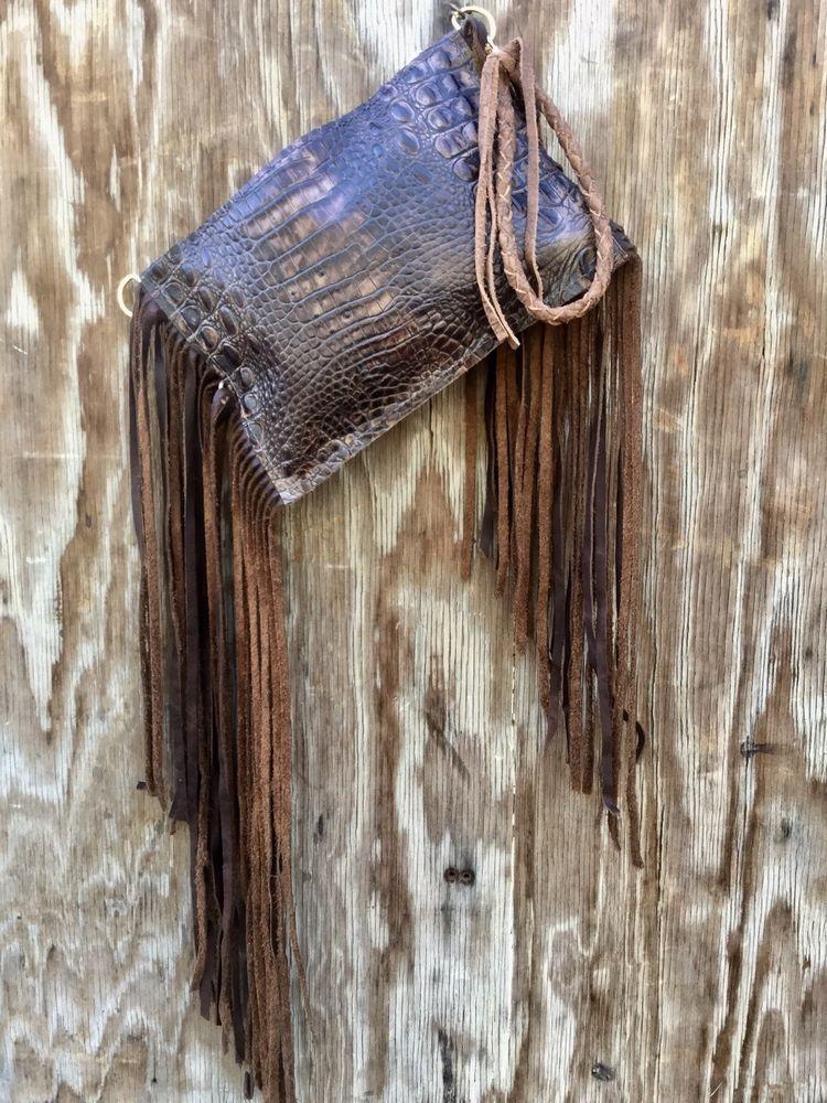 cae037979 Western Brown Croco Leather Purse Clutch Wristlet RODEO Purse w/ Fringe USA  ss16 | eBay #clutchesusa