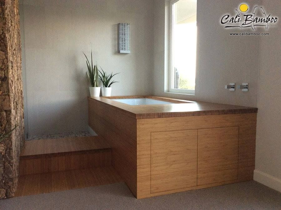 Beautifully handcrafted bamboo bathtub is much softer than stone or ...