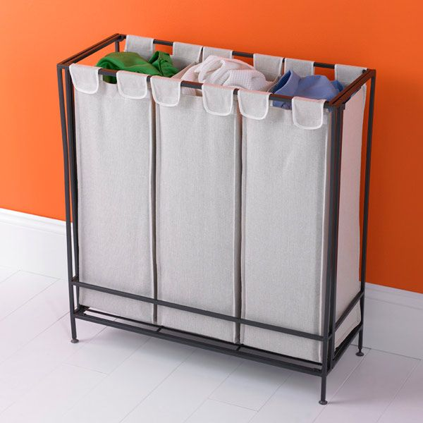 3 Section Iron Folding Hamper 99 Washable Canvas Bags 28 3 4 X