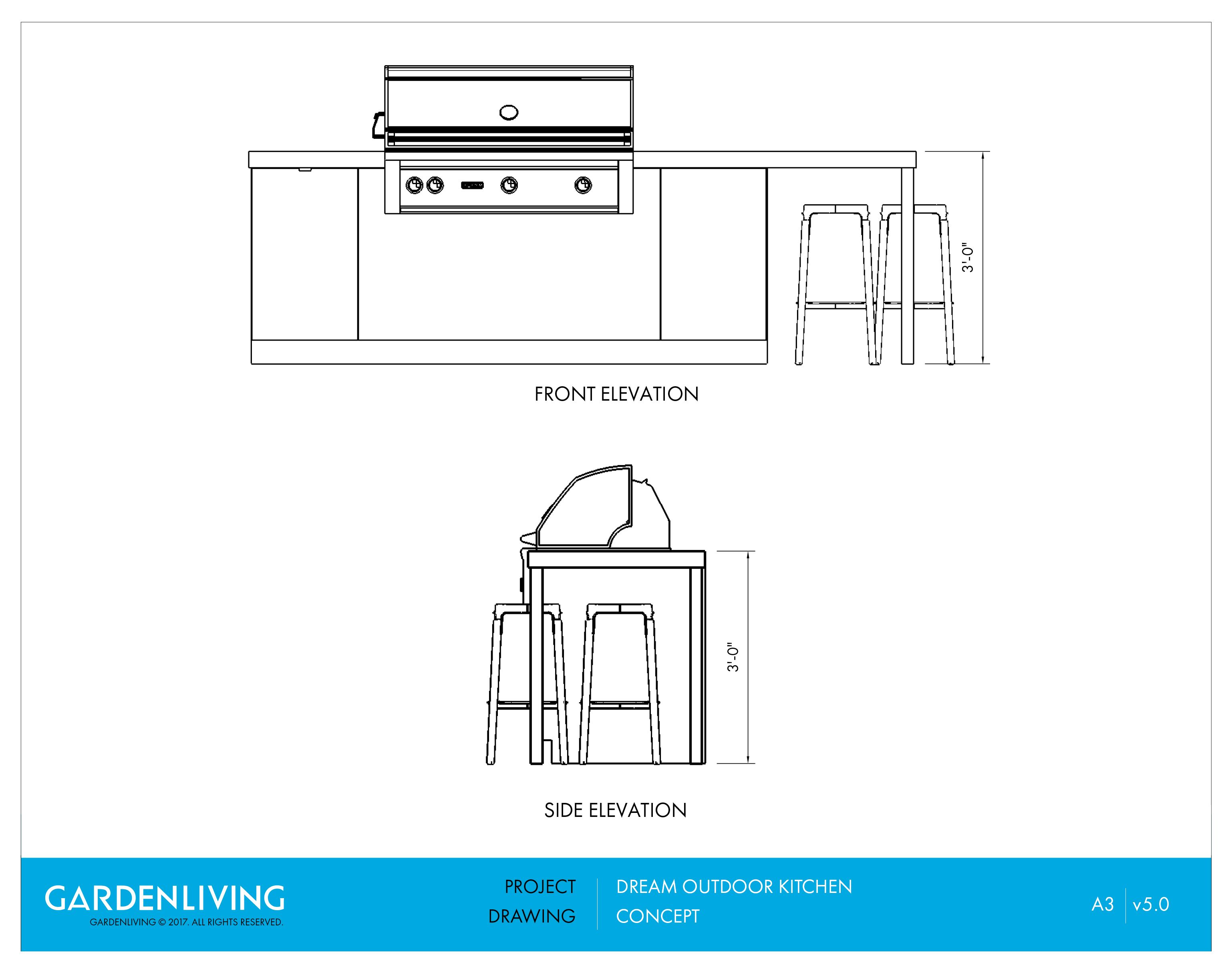 Outdoor Kitchen Elevation Drawings