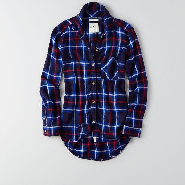 AEO Canyon Boyfriend Flannel (€32) ❤ liked on Polyvore featuring tops, navy blue, navy blue tops, boyfriend tank top, navy top, american eagle outfitters and button front tops