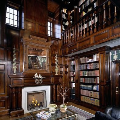 Liry with fireplace and richly stained wood   Home Liries ... Designs For Home Liry With Fire Place on