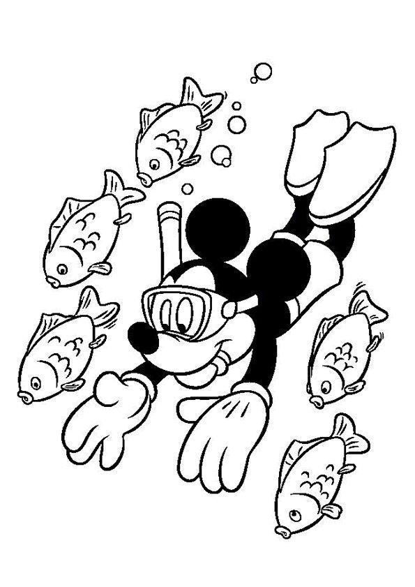 Kleurplaat vakantie Mickey mouse coloring pages, Disney