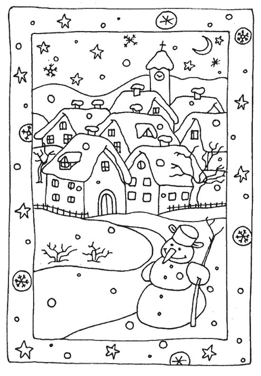 free winter coloring pages snowy houses home illustrations