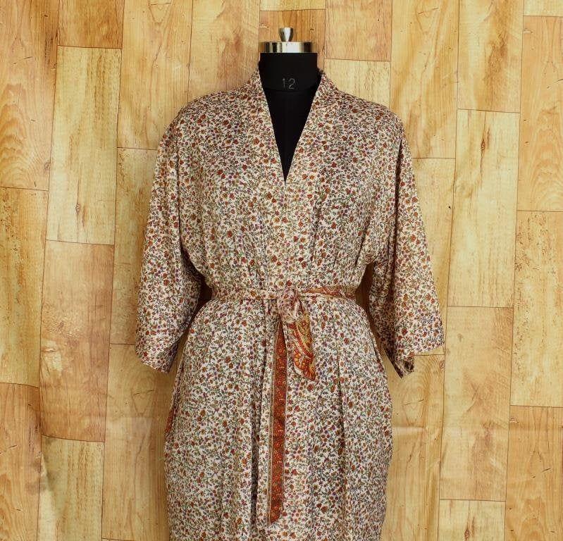 sari fabric kimono jacket, recycled kimono art silk, bohemian womens clothing, bridal kimono dress, oriental robe, swimming dress #K429
