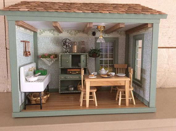 kitchen miniature designing a country roombox products pinterest rooms shadow box art barbie furniture