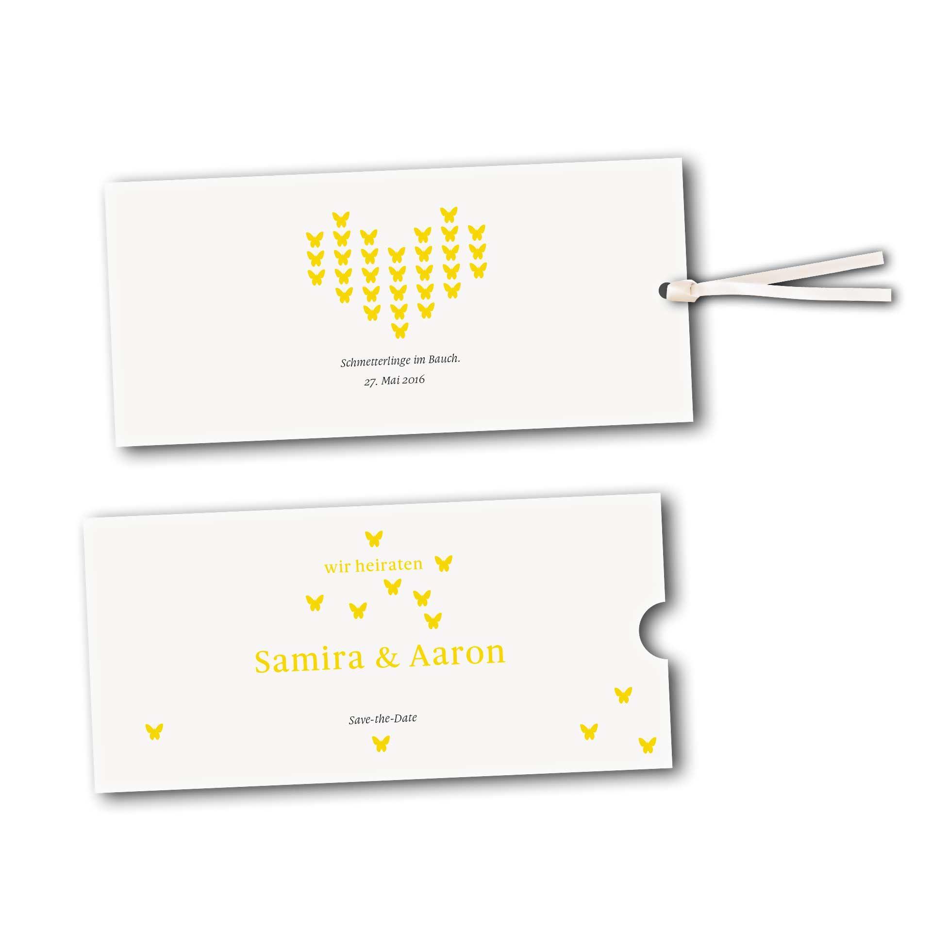 Hochzeitskarten Schuberkarte Kartendesign Verliebte Schmetterlinge