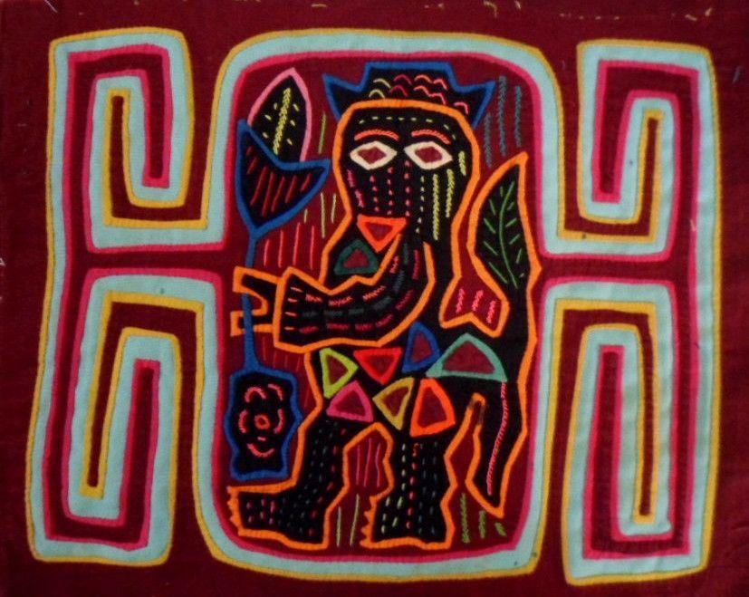 Kuna Indian Hand-Stitch Devil Made Me Do It Mola Art-Panama 16040410L