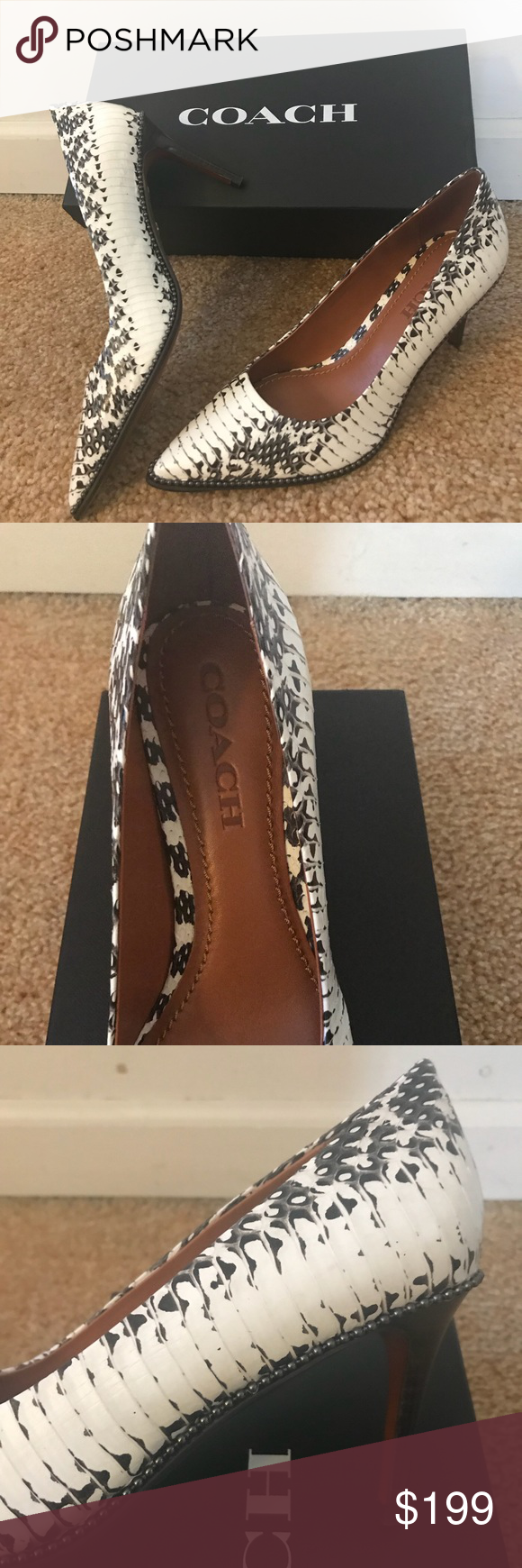 "a7a23a8d839 COACH Beadchain Pump Snake Skin NIB COACH Bead Chain Heel - Snake Skin -  Leather lining and foot bed - Leather outsole - 3 1 4"" Stacked Wooden Heel  Retail ..."