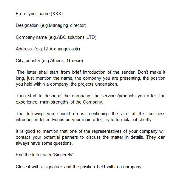 Sample Business Introduction Letter   Free Documents In Pdf