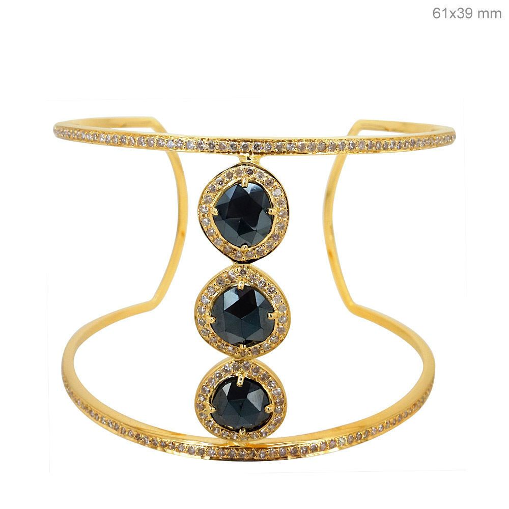 Gemstone black spinel k yellow gold pave diamond cuff bracelet