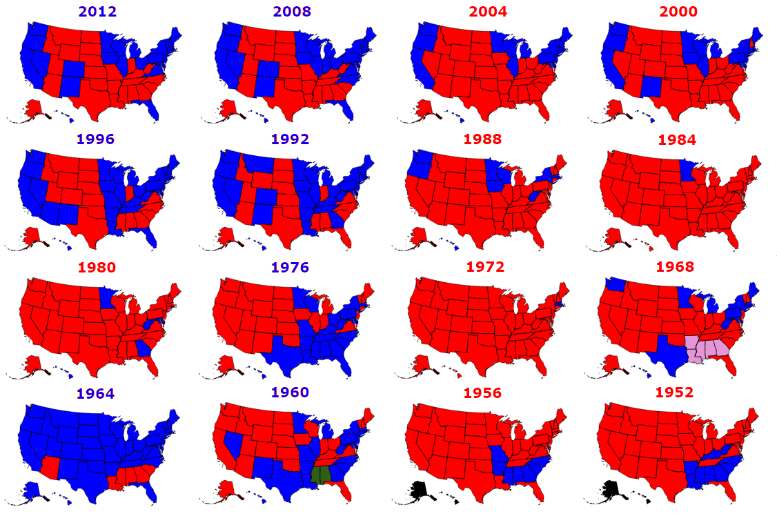 Presidential Elections Used To Be More Colorful Electoral Maps - Us-election-results-state-map