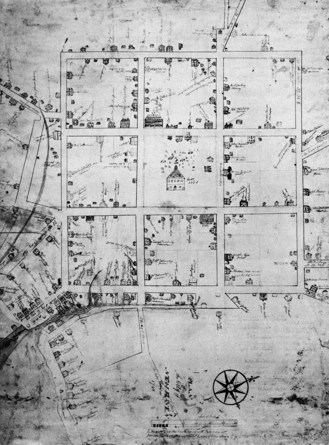 archiveofaffinities: New Haven, Connecticut, Plan, 1748 | Drafting ...