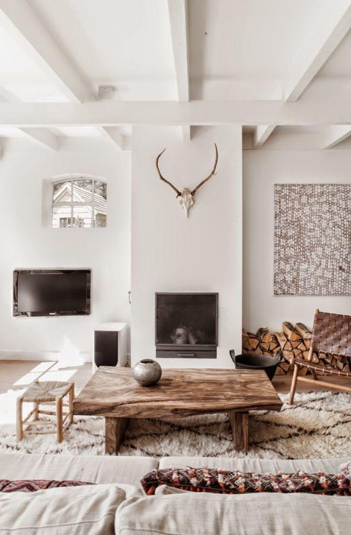 Blanco madera natural y estampados tnicos Blanco