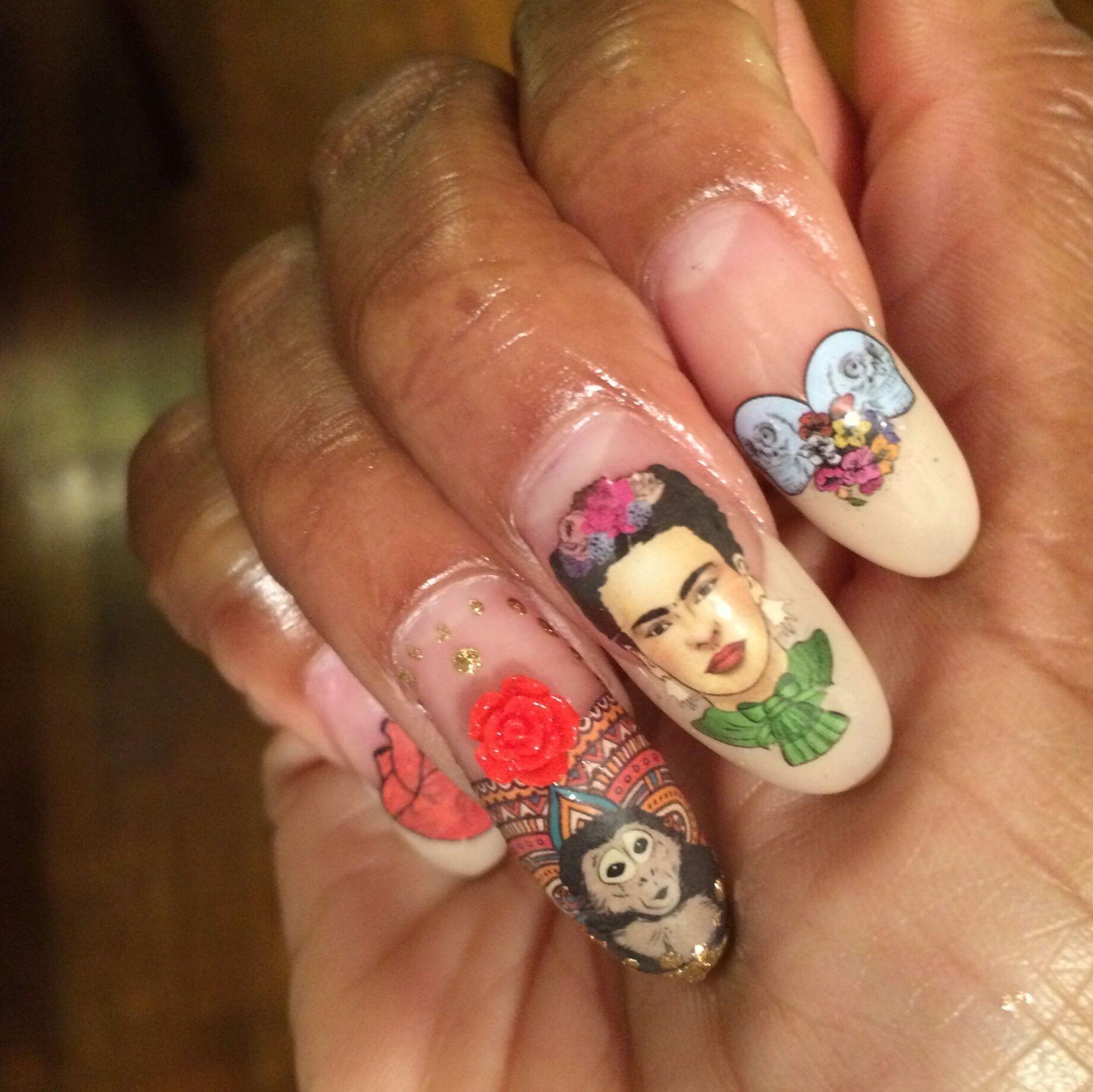 Frida Kahlo Nail Art #sculls #nailart #manicure #polish #gold ...