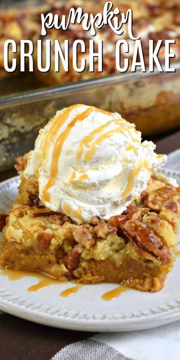 Sweet and Salty Pumpkin Crunch Cake Recipe (dump cake) #pumpkinpierecipe