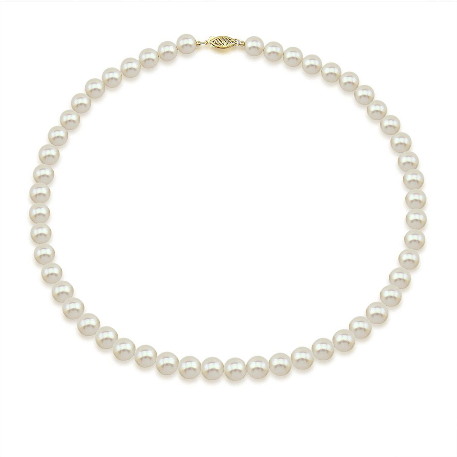 18 Length AAA Quality 14K Yellow Gold 6.5-7.0mm White Freshwater Cultured Pearl Necklace Earrings Set