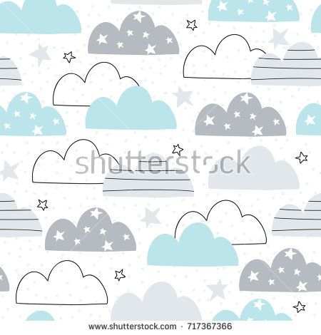 seamless clouds pattern vector illustration | baby pattern