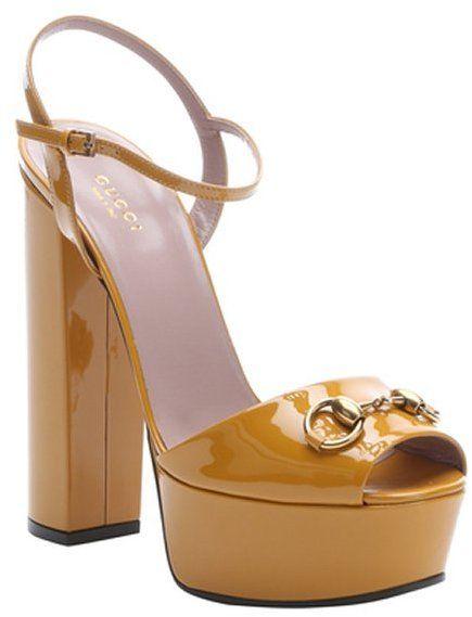 e055fd73584 Gucci nectarine patent leather horsebit peep toe platform sandals ...