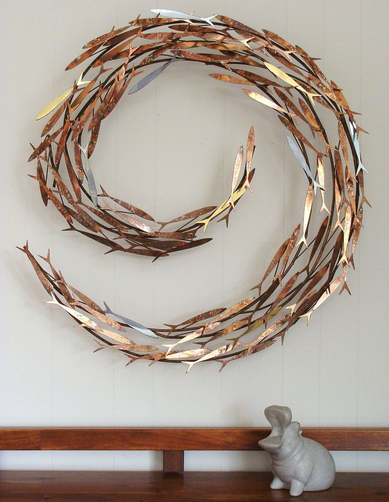 Curtis Jere Mixed Metal Wall Sculpture Schooling Fish Signed 1978 Brutalist Mcm Cjere Metal Sculpture Wall Art Metal Fish Wall Art Wall Sculpture Art