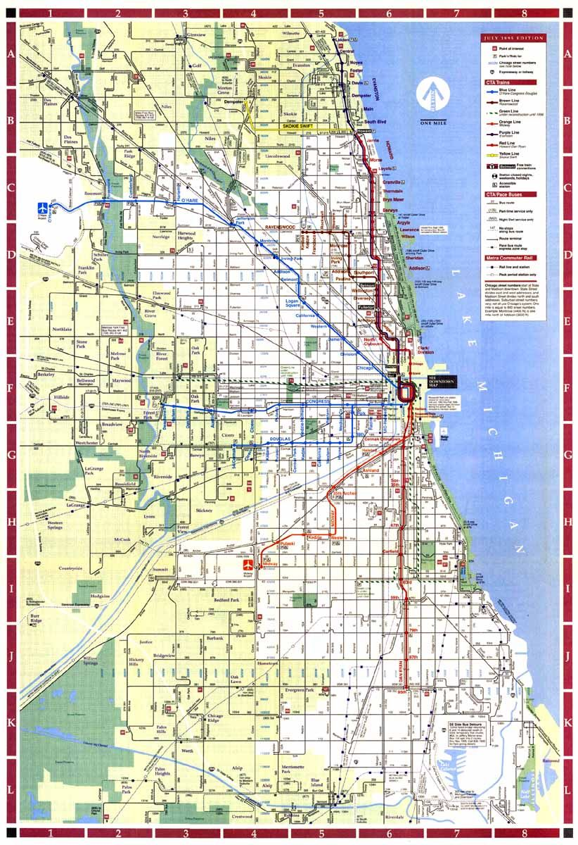 Chicago L Train Map chicago train map | Chicago ''L''.org: System Maps   Route Maps  Chicago L Train Map